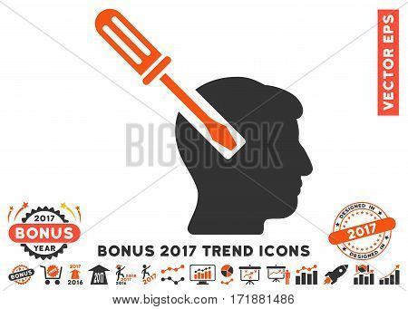Orange And Gray Head Screwdriver Tuning pictogram with bonus 2017 year trend pictograph collection. Vector illustration style is flat iconic bicolor symbols white background.