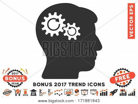 Orange And Gray Head Wheels Rotation icon with bonus 2017 trend symbols. Vector illustration style is flat iconic bicolor symbols white background.