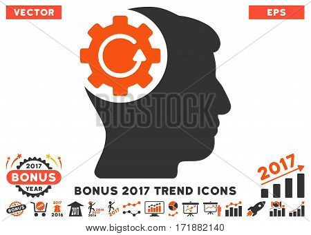 Orange And Gray Intellect Gear Rotation pictogram with bonus 2017 year trend symbols. Vector illustration style is flat iconic bicolor symbols white background.