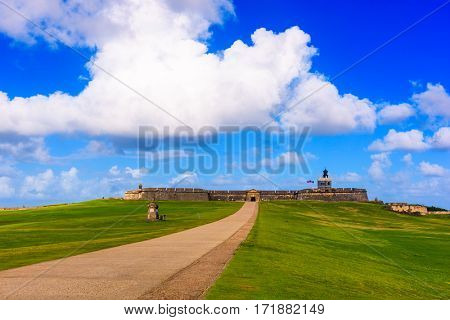 San Juan, Puerto Rico at the road to Castillo San Felipe del Morro.