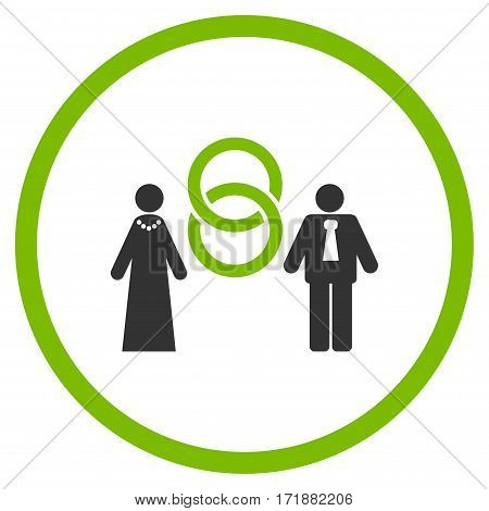 Marriage Persons rounded icon. Vector illustration style is flat iconic bicolor symbol inside circle eco green and gray colors white background.