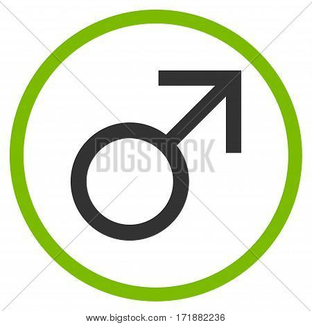 Mars Male Symbol rounded icon. Vector illustration style is flat iconic bicolor symbol inside circle eco green and gray colors white background.