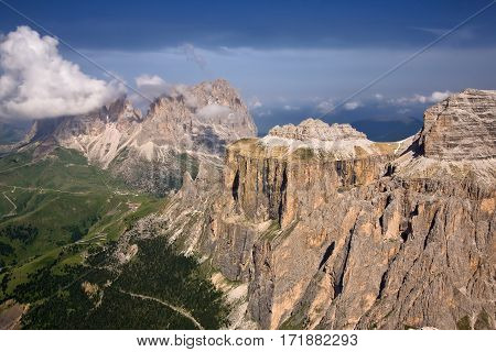 Groupo del Sella and Sassolungo Langkofel, Excellent hiking mountains in the Dolomites of Northern Italy.