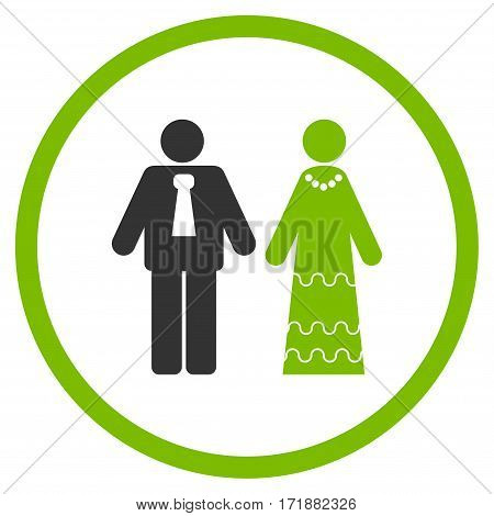 Newlyweds rounded icon. Vector illustration style is flat iconic bicolor symbol inside circle eco green and gray colors white background.