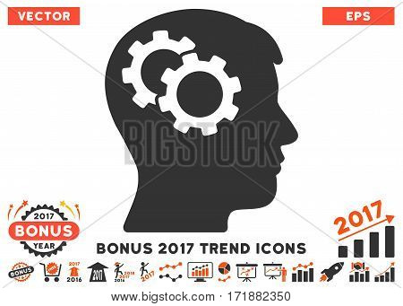Orange And Gray Intellect Gears pictogram with bonus 2017 trend elements. Vector illustration style is flat iconic bicolor symbols white background.