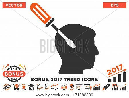 Orange And Gray Intellect Screwdriver Tuning pictogram with bonus 2017 year trend clip art. Vector illustration style is flat iconic bicolor symbols white background.