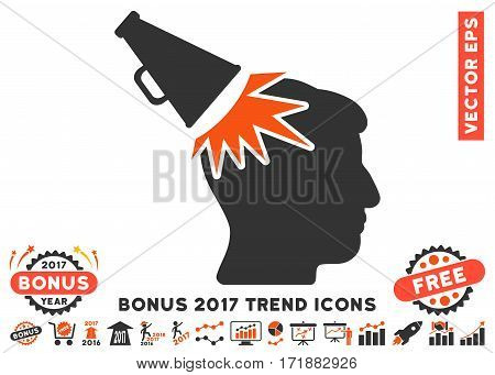 Orange And Gray Megaphone Impact Head pictogram with bonus 2017 trend pictograph collection. Vector illustration style is flat iconic bicolor symbols white background.