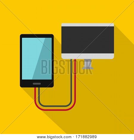 Connection phone icon. Flat illustration of connection phone vector icon for web