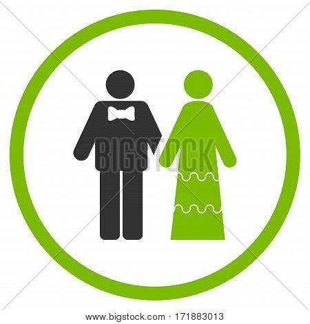Wedding Persons rounded icon. Vector illustration style is flat iconic bicolor symbol inside circle eco green and gray colors white background.