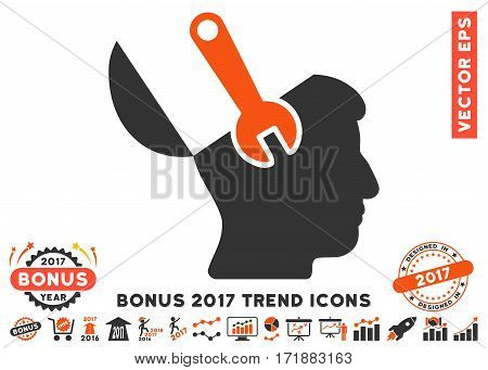 Orange And Gray Mind Wrench Surgery pictogram with bonus 2017 trend pictures. Vector illustration style is flat iconic bicolor symbols white background.