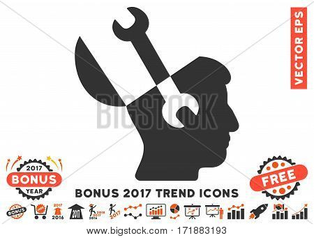 Orange And Gray Mind Wrench Tools pictogram with bonus 2017 year trend images. Vector illustration style is flat iconic bicolor symbols white background.