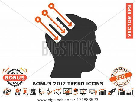 Orange And Gray Neuro Interface pictograph with bonus 2017 year trend images. Vector illustration style is flat iconic bicolor symbols white background.