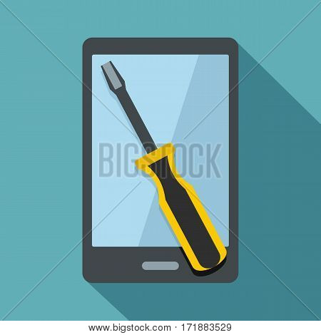 Renovation phone icon. Flat illustration of renovation phone vector icon for web