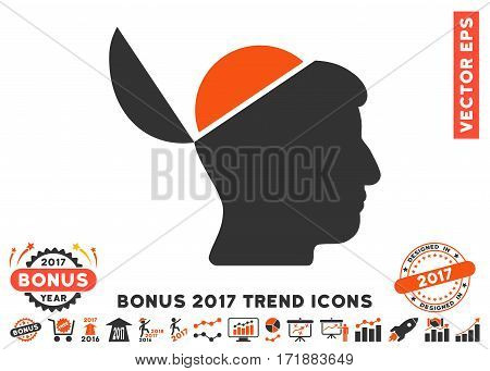 Orange And Gray Open Brain pictograph with bonus 2017 year trend symbols. Vector illustration style is flat iconic bicolor symbols white background.