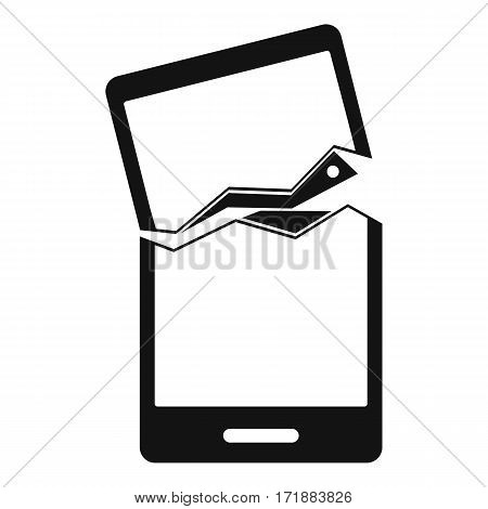 Broken phone icon. Simple illustration of broken phone vector icon for web