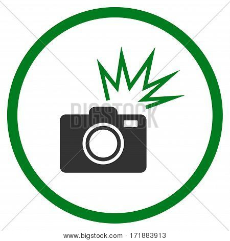 Camera Flash rounded icon. Vector illustration style is flat iconic bicolor symbol inside circle green and gray colors white background.