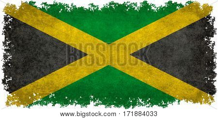 The National flag of Jamaica with worn distressed grungy textures and edges