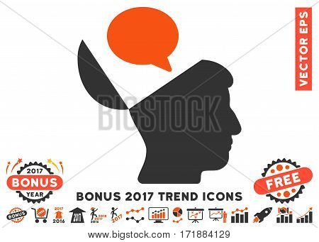 Orange And Gray Open Mind Opinion icon with bonus 2017 year trend symbols. Vector illustration style is flat iconic bicolor symbols white background.
