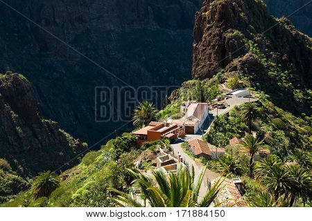 View on Masca village in the rainy day on Tenerife Canary Islands Spain