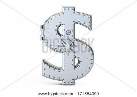 combination safe box in shape of sign dollar 3D rendering isolated on white background