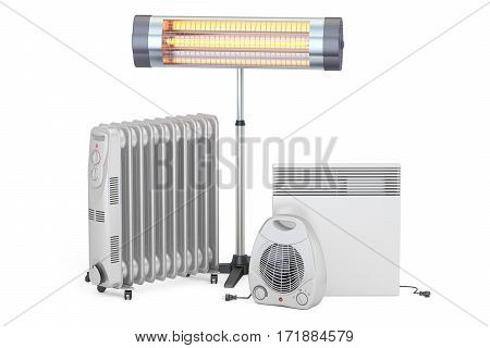 Heating devices. Convection fan oil-filled and infrared heaters 3D rendering isolated on white background