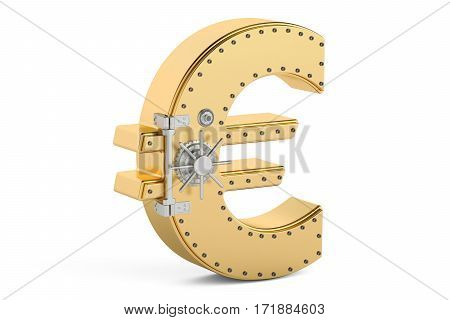 safe box in shape of symbol euro 3D rendering isolated on white background