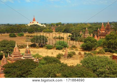 Landscape with pagoda and temples in Bagan, Myanmar (Burma)