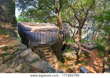 Sigiriya garden near Lion Rock Castle, Sri Lanka, HDR 	mage