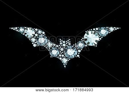 Vector Bat Made of Shiny Diamonds on Black