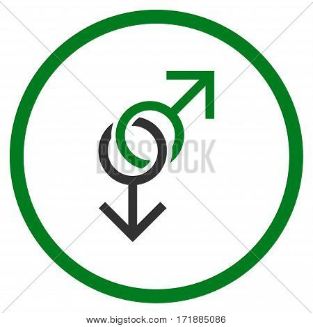 Gay Love Symbol rounded icon. Vector illustration style is flat iconic bicolor symbol inside circle green and gray colors white background.