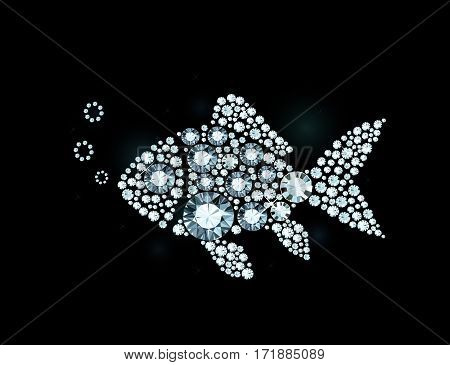Vector fish made of shiny diamonds on black