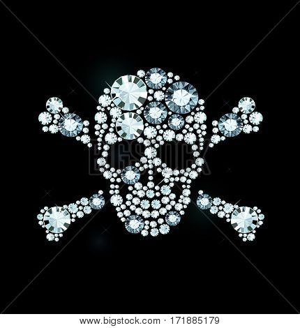 Skull And Crossbones Made Of Shiny Diamonds