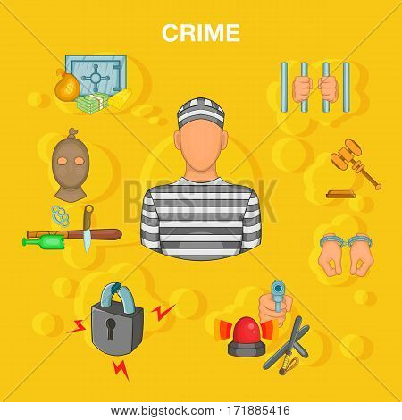 Crime accident concept set. Cartoon illustration of crime accident vector concept for web
