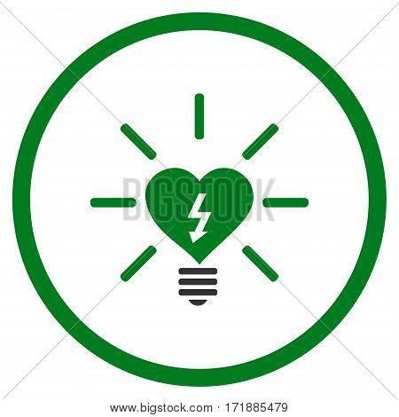 Heart Electric Bulb rounded icon. Vector illustration style is flat iconic bicolor symbol inside circle green and gray colors white background.
