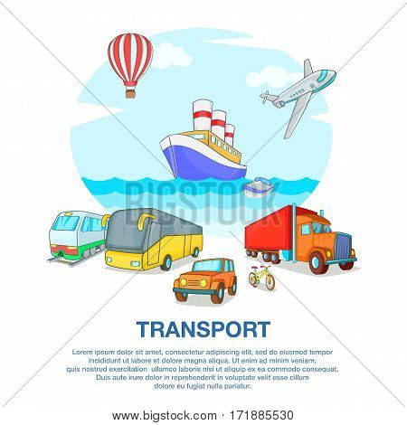 Types of transport concept set. Cartoon illustration of types of transport vector concept for web