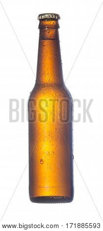 Misted over bottle beer of dark glass of isolated on white background