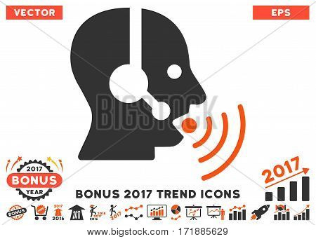 Orange And Gray Operator Talking Sound Waves pictograph with bonus 2017 year trend pictograph collection. Vector illustration style is flat iconic bicolor symbols white background.