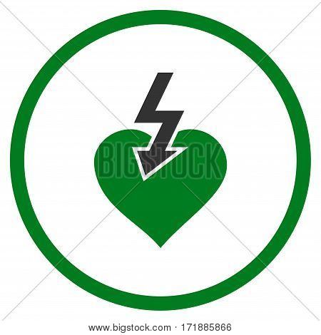 Heart Shock Strike rounded icon. Vector illustration style is flat iconic bicolor symbol inside circle green and gray colors white background.