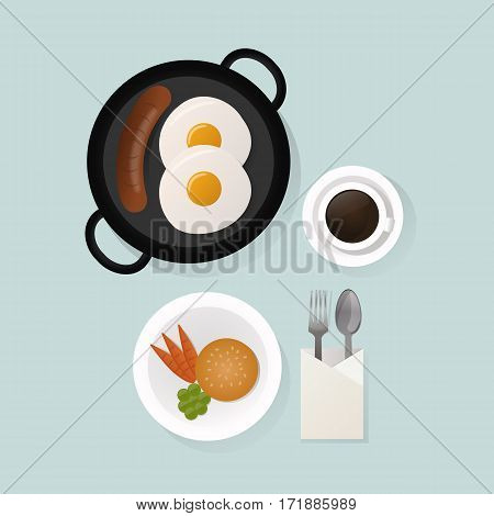 Healthy nutrition scrambled eggs lunch proteins fats carbohydrates breakfast balanced diet, cooking, culinary and food concept vector. Morning natural vegetarian energy.