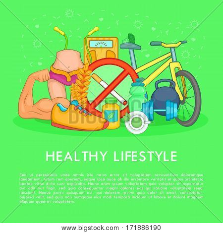 Health life items concept set. Cartoon illustration of health life items vector concept for web