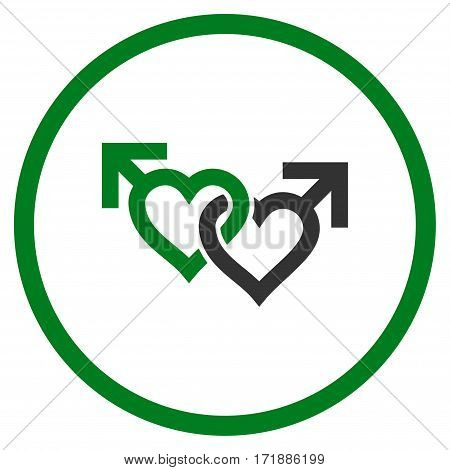 Linked Gay Hearts rounded icon. Vector illustration style is flat iconic bicolor symbol inside circle green and gray colors white background.