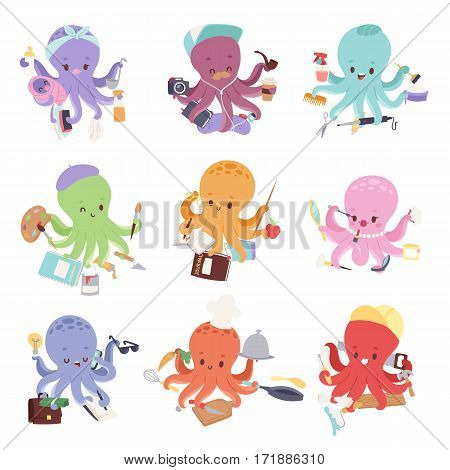 Octopus mollusk ocean coral reef animal character different pose like human and cartoon funny, graphic marine life underwater tentacle vector illustration. Swimming monster comic invertebrate mascot.