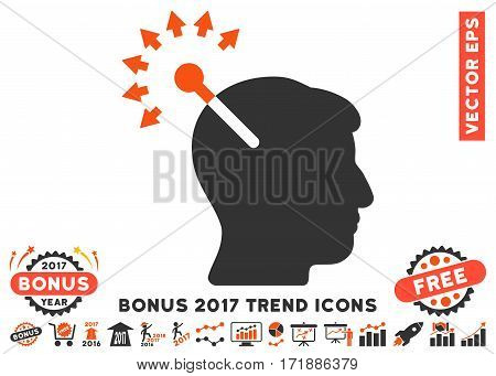 Orange And Gray Optical Neural Interface pictograph with bonus 2017 trend clip art. Vector illustration style is flat iconic bicolor symbols white background.