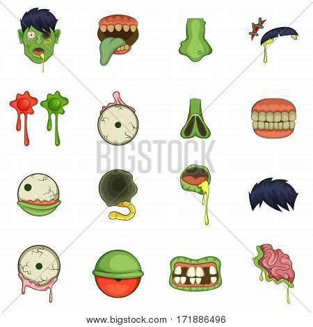 Zombie parts icons set. Cartoon illustration of 16 zombie parts vector icons for web