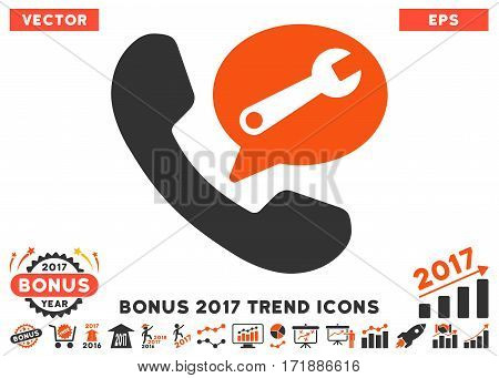 Orange And Gray Phone Service Message icon with bonus 2017 trend pictograph collection. Vector illustration style is flat iconic bicolor symbols white background.