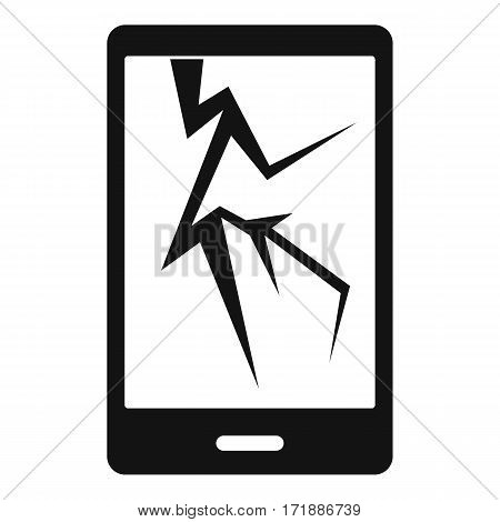 Cracked phone icon. Simple illustration of cracked phone vector icon for web