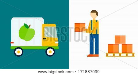 Import export fruits truck and vegetables delivery vector icons set. Shipping shop commerce container sign. Organic food distribution package illustration.
