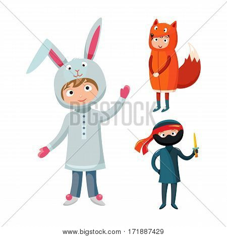 Kids different costumes isolated vector illustration. Playful character spooky baby superhero ninja, rabbit and fox. Children party funny clothes.