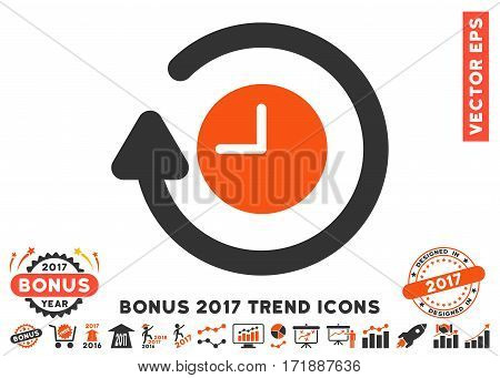 Orange And Gray Repeat Clock pictograph with bonus 2017 year trend pictures. Vector illustration style is flat iconic bicolor symbols white background.