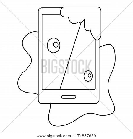 Wet phone icon. Outline illustration of wet phone vector icon for web